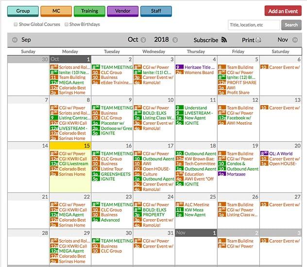 Real Estate Agent Training Calendar